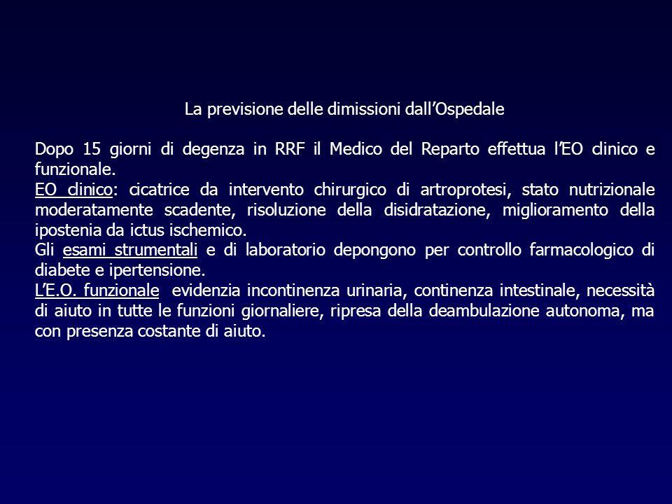 La previsione delle dimissioni dallOspedale Dopo 15 giorni di degenza in RRF il Medico del Reparto effettua lEO clinico e funzionale. EO clinico: cica