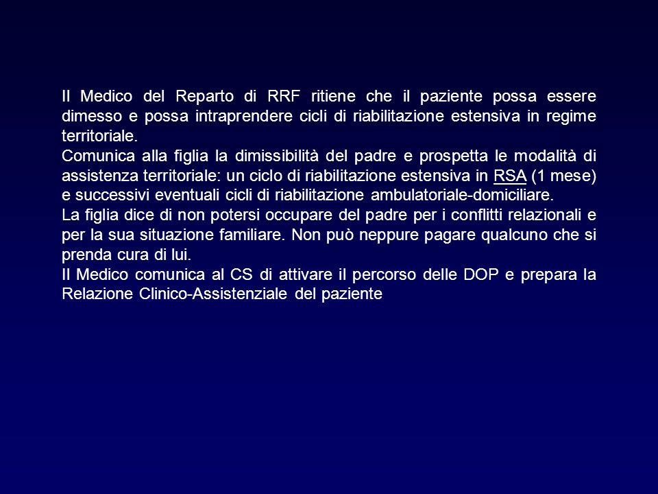 Il Medico del Reparto di RRF ritiene che il paziente possa essere dimesso e possa intraprendere cicli di riabilitazione estensiva in regime territoria