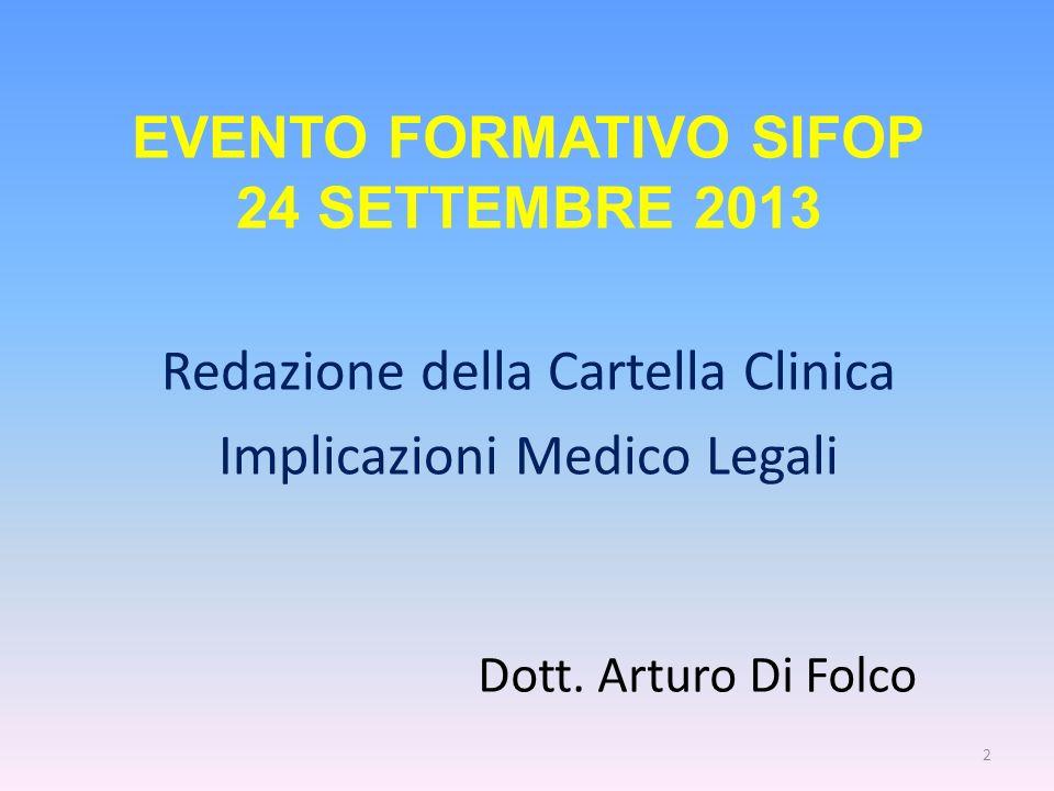 Dott. Arturo Di Folco Redazione della Cartella Clinica Implicazioni Medico Legali 2 EVENTO FORMATIVO SIFOP 24 SETTEMBRE 2013