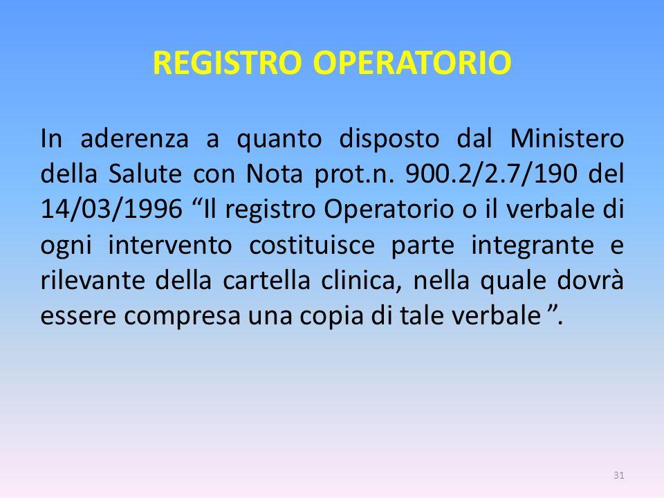 REGISTRO OPERATORIO In aderenza a quanto disposto dal Ministero della Salute con Nota prot.n. 900.2/2.7/190 del 14/03/1996 Il registro Operatorio o il