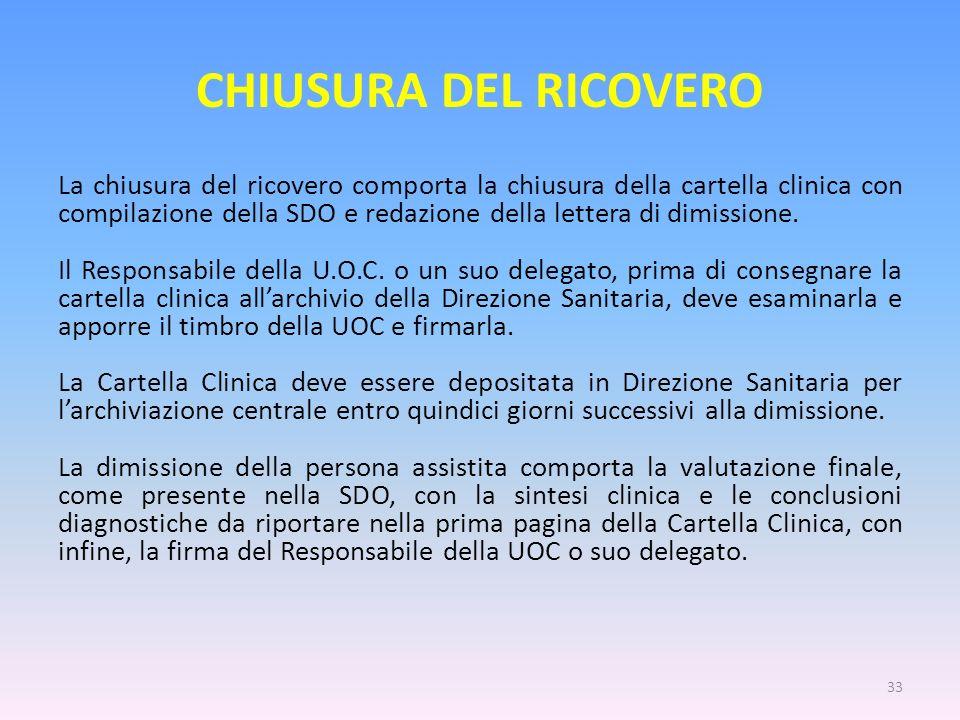 CHIUSURA DEL RICOVERO La chiusura del ricovero comporta la chiusura della cartella clinica con compilazione della SDO e redazione della lettera di dim
