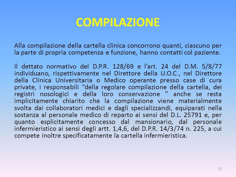 COMPILAZIONE Alla compilazione della cartella clinica concorrono quanti, ciascuno per la parte di propria competenza e funzione, hanno contatti col pa