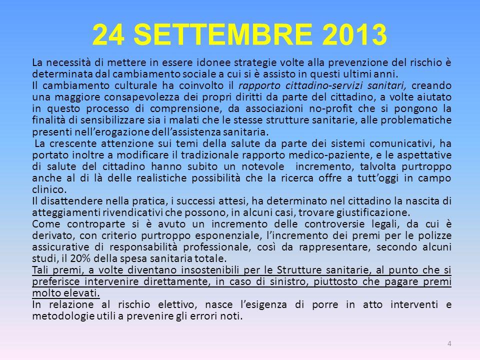 24 SETTEMBRE 2013 La necessità di mettere in essere idonee strategie volte alla prevenzione del rischio è determinata dal cambiamento sociale a cui si