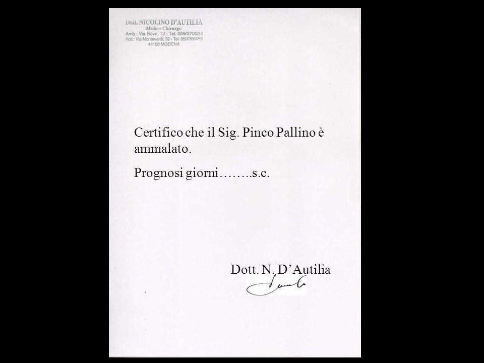 Certifico che il Sig. Pinco Pallino è ammalato. Prognosi giorni……..s.c. Dott. N. DAutilia