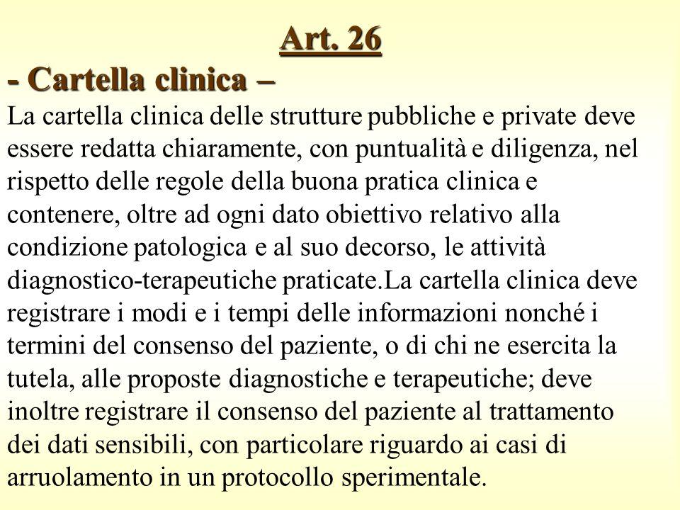Art. 26 - Cartella clinica – Art. 26 - Cartella clinica – La cartella clinica delle strutture pubbliche e private deve essere redatta chiaramente, con