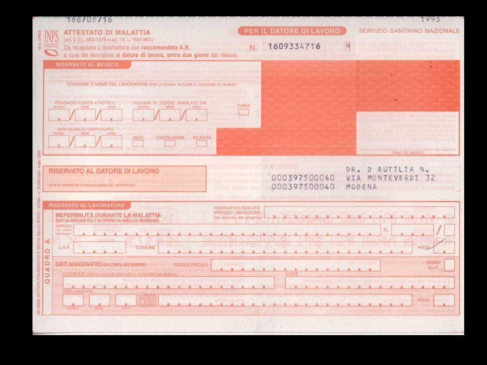 1 Mancanza firma o timbro del medico 2 Mancanza data di redazione 3 Diagnosi mancante 4 Mancanza data di fine prognosi 5 Diagnosi non comprovante lincapacità temporanea al lavoro C Correzioni non controfirmate
