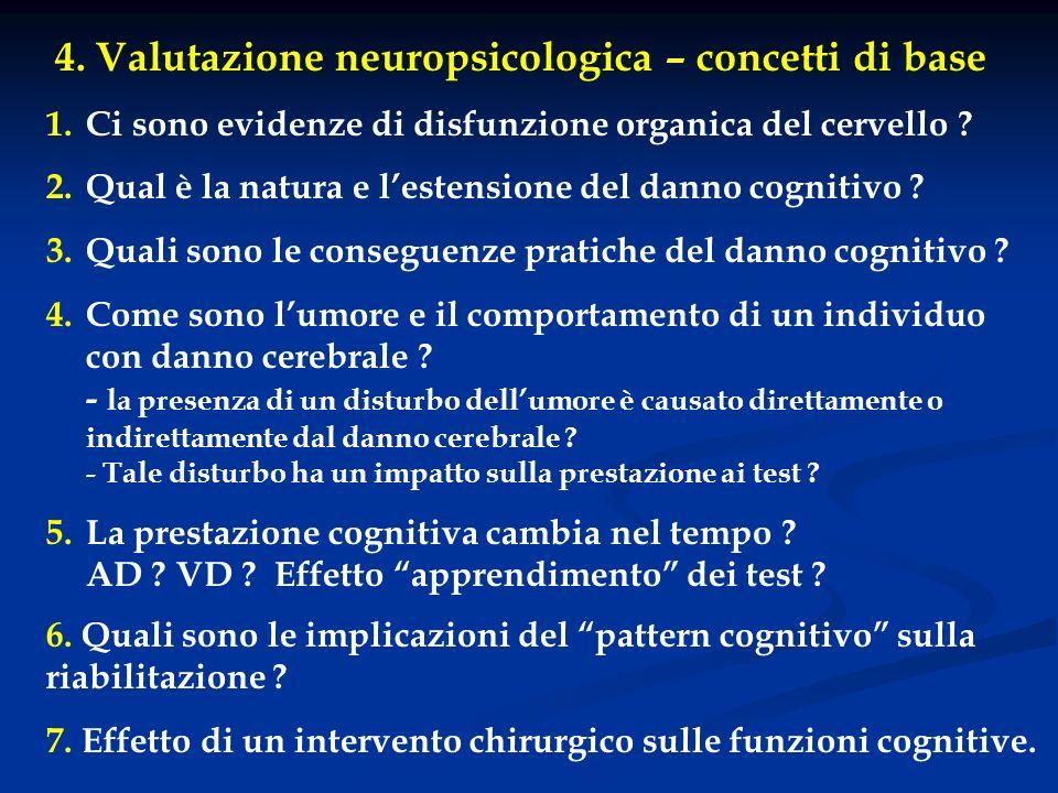 4. Valutazione neuropsicologica – concetti di base 1.Ci sono evidenze di disfunzione organica del cervello ? 2.Qual è la natura e lestensione del dann