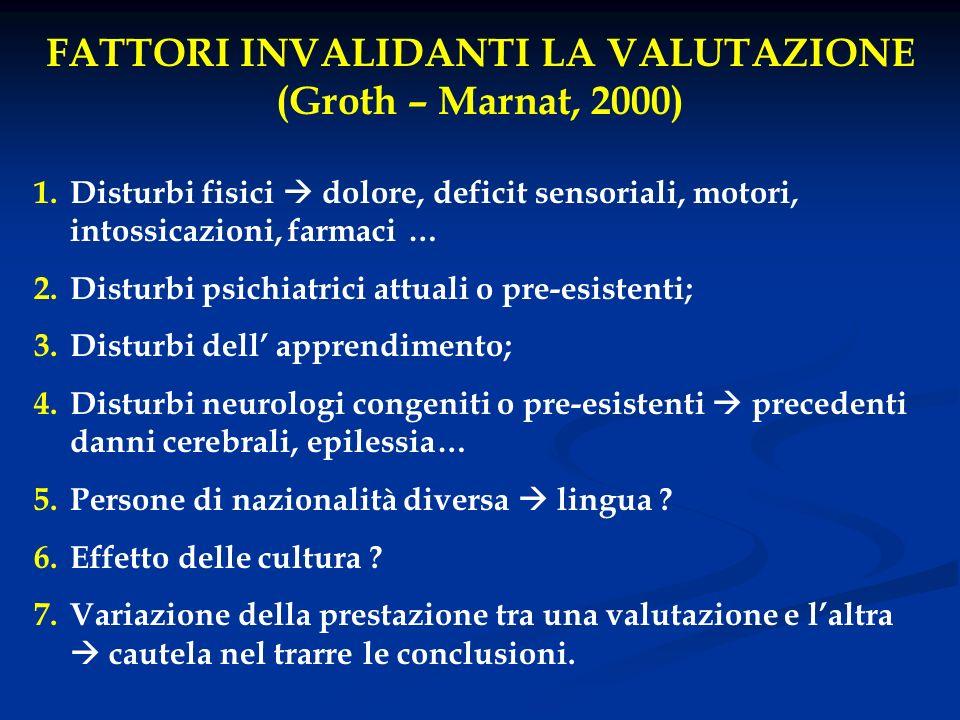 FATTORI INVALIDANTI LA VALUTAZIONE (Groth – Marnat, 2000) 1.Disturbi fisici dolore, deficit sensoriali, motori, intossicazioni, farmaci … 2.Disturbi p