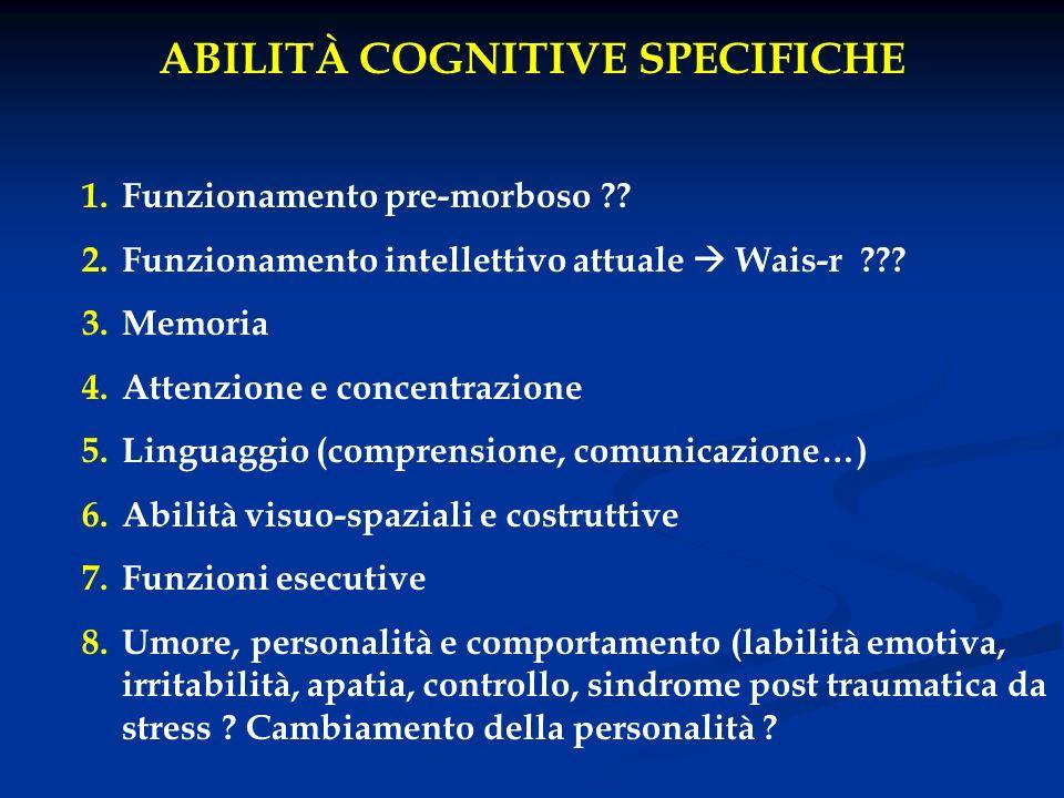 ABILITÀ COGNITIVE SPECIFICHE 1.Funzionamento pre-morboso ?? 2.Funzionamento intellettivo attuale Wais-r ??? 3.Memoria 4.Attenzione e concentrazione 5.