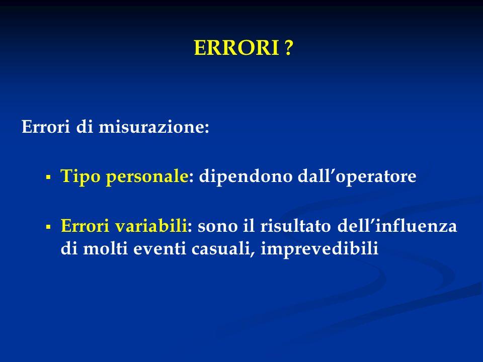 ERRORI ? Errori di misurazione: Tipo personale: dipendono dalloperatore Errori variabili: sono il risultato dellinfluenza di molti eventi casuali, imp