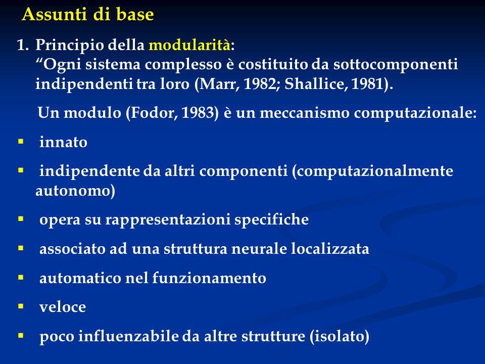 Assunti di base 1.Principio della modularità: Ogni sistema complesso è costituito da sottocomponenti indipendenti tra loro (Marr, 1982; Shallice, 1981