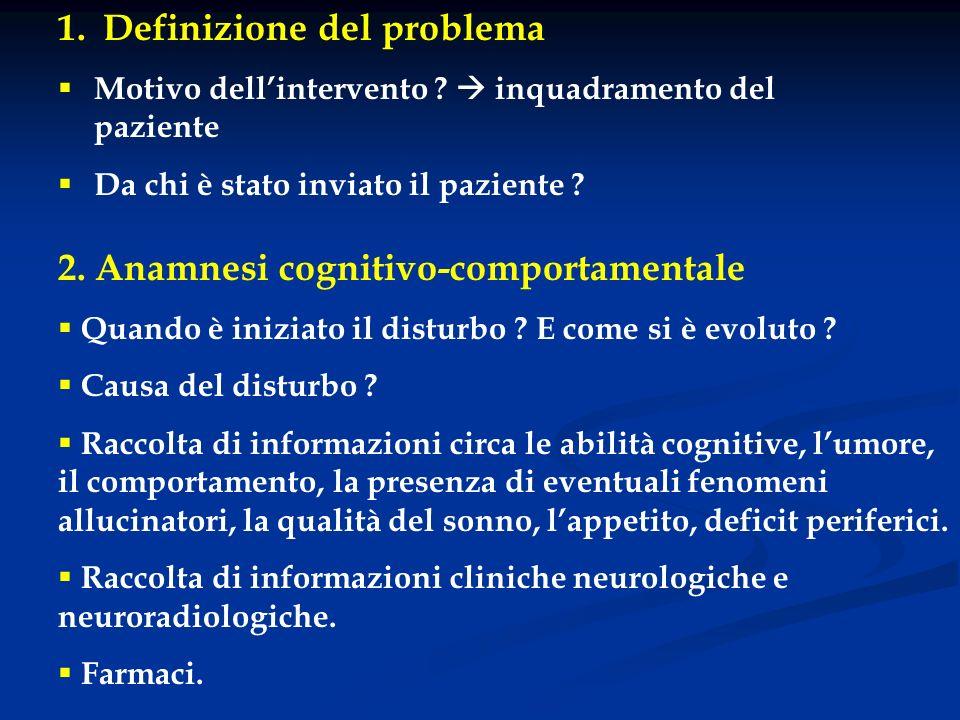 1. Definizione del problema Motivo dellintervento ? inquadramento del paziente Da chi è stato inviato il paziente ? 2. Anamnesi cognitivo-comportament