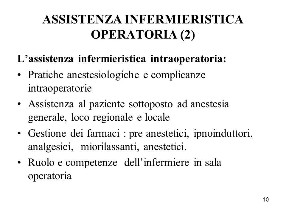 10 ASSISTENZA INFERMIERISTICA OPERATORIA (2) Lassistenza infermieristica intraoperatoria: Pratiche anestesiologiche e complicanze intraoperatorie Assi