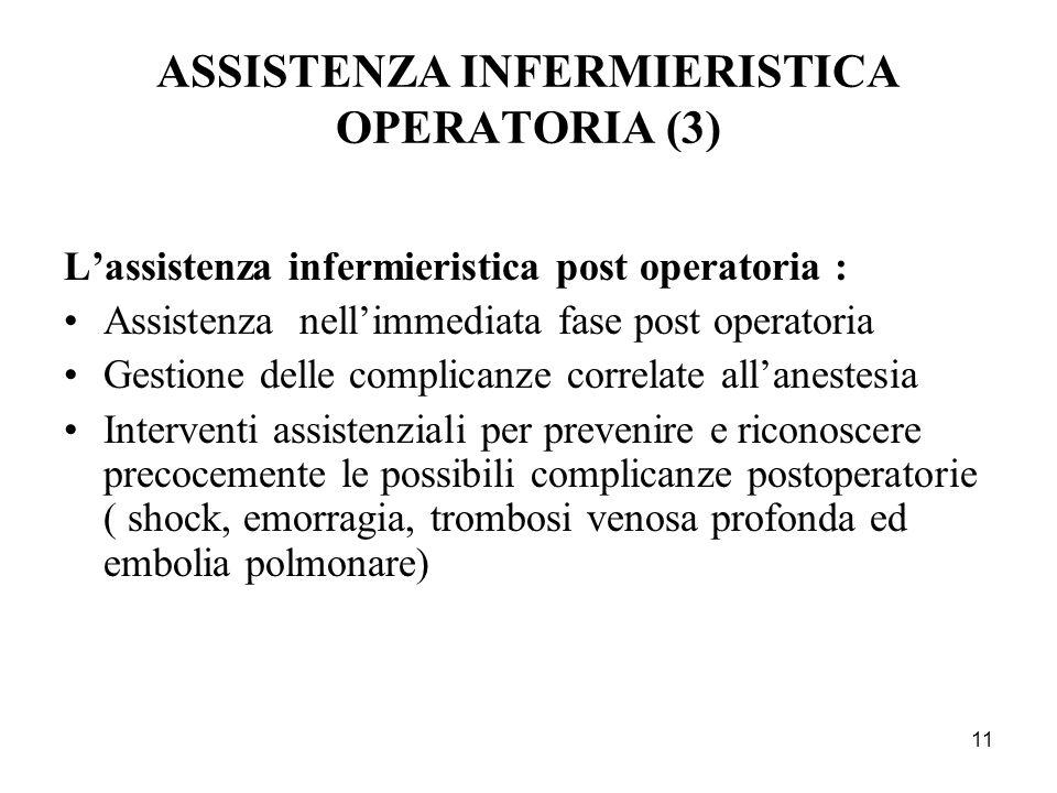 11 ASSISTENZA INFERMIERISTICA OPERATORIA (3) Lassistenza infermieristica post operatoria : Assistenza nellimmediata fase post operatoria Gestione dell