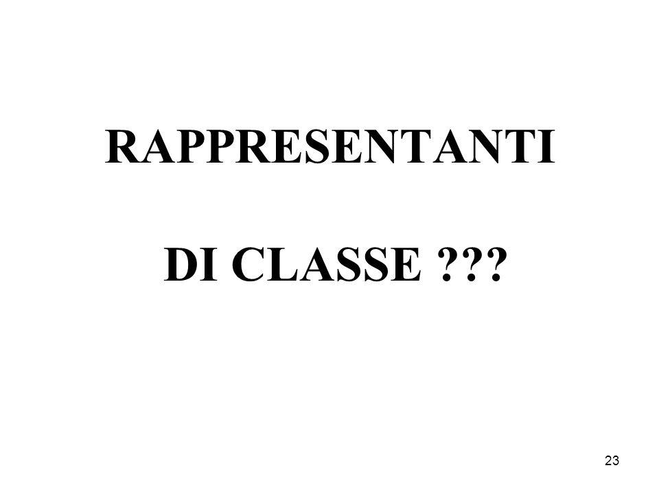 23 RAPPRESENTANTI DI CLASSE ???
