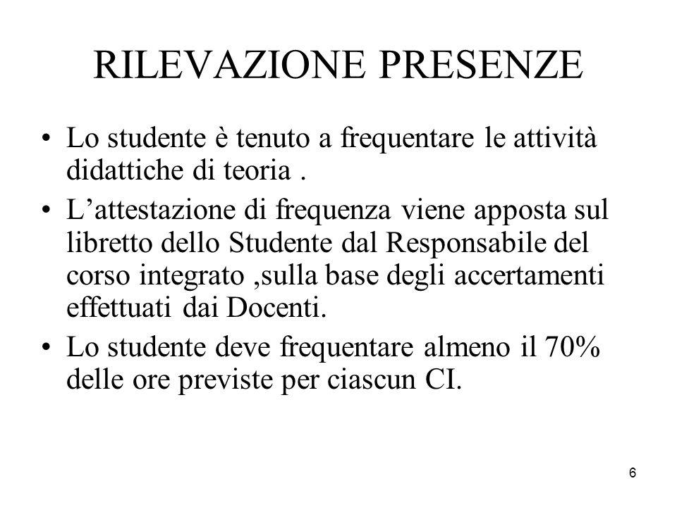 6 RILEVAZIONE PRESENZE Lo studente è tenuto a frequentare le attività didattiche di teoria. Lattestazione di frequenza viene apposta sul libretto dell