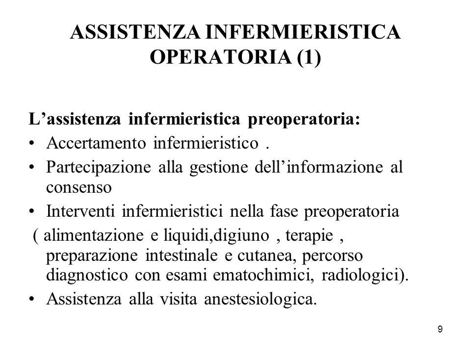 10 ASSISTENZA INFERMIERISTICA OPERATORIA (2) Lassistenza infermieristica intraoperatoria: Pratiche anestesiologiche e complicanze intraoperatorie Assistenza al paziente sottoposto ad anestesia generale, loco regionale e locale Gestione dei farmaci : pre anestetici, ipnoinduttori, analgesici, miorilassanti, anestetici.