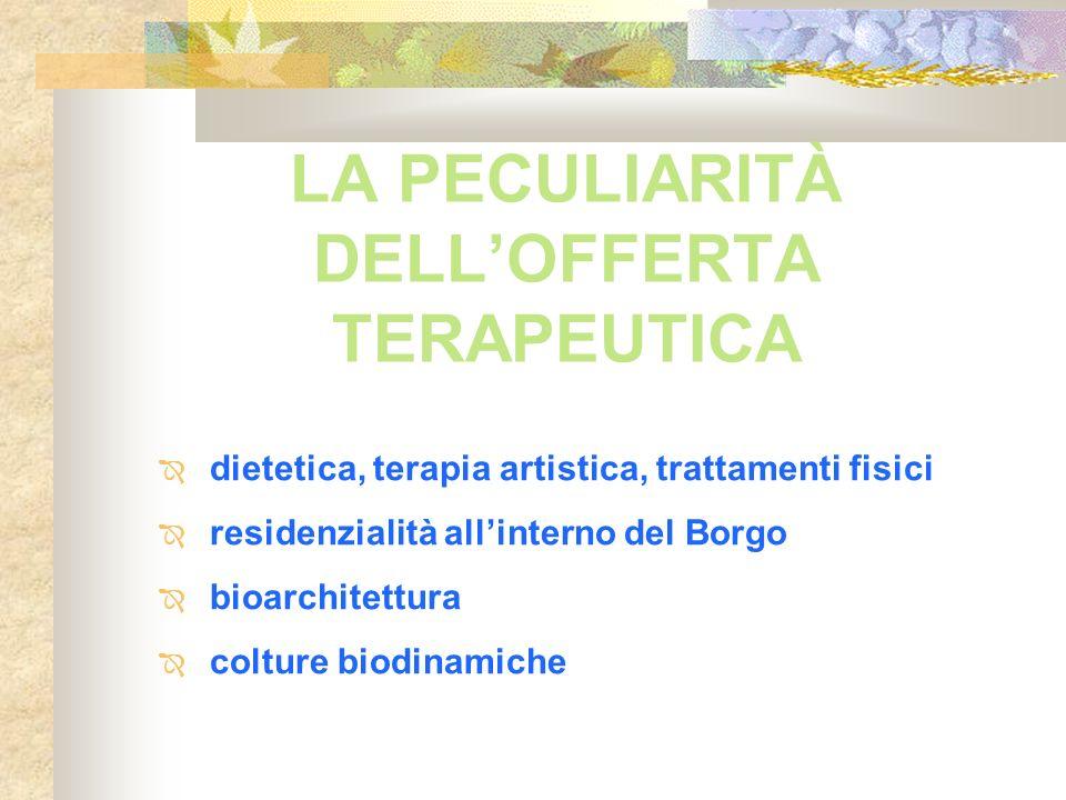 LA PECULIARITÀ DELLOFFERTA TERAPEUTICA dietetica, terapia artistica, trattamenti fisici residenzialità allinterno del Borgo bioarchitettura colture bi