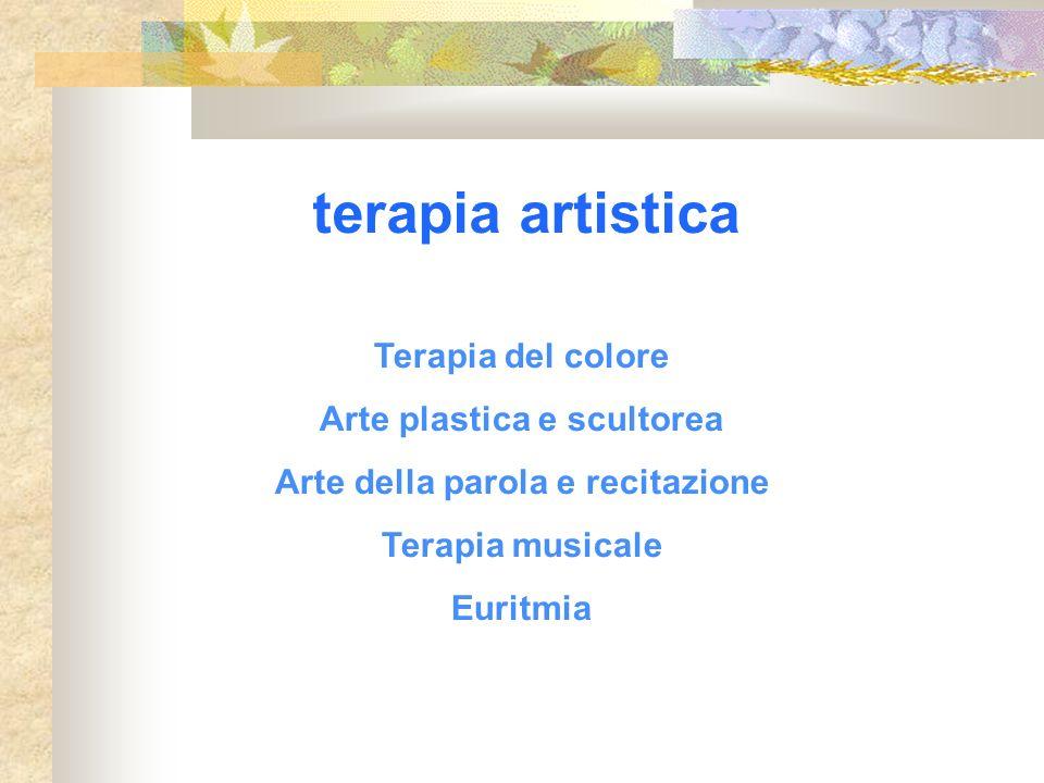 terapia artistica Terapia del colore Arte plastica e scultorea Arte della parola e recitazione Terapia musicale Euritmia