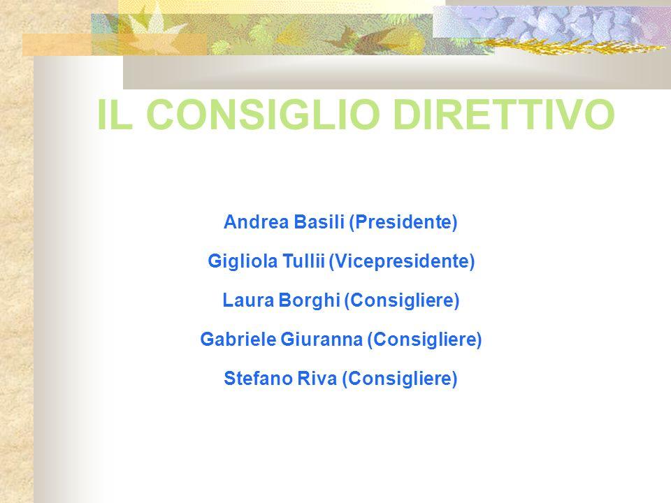 IL CONSIGLIO DIRETTIVO Andrea Basili (Presidente) Gigliola Tullii (Vicepresidente) Laura Borghi (Consigliere) Gabriele Giuranna (Consigliere) Stefano