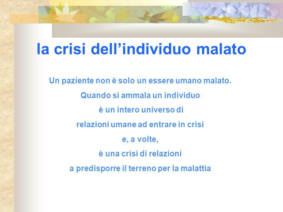 la crisi dellindividuo malato Un paziente non è solo un essere umano malato. Quando si ammala un individuo è un intero universo di relazioni umane ad