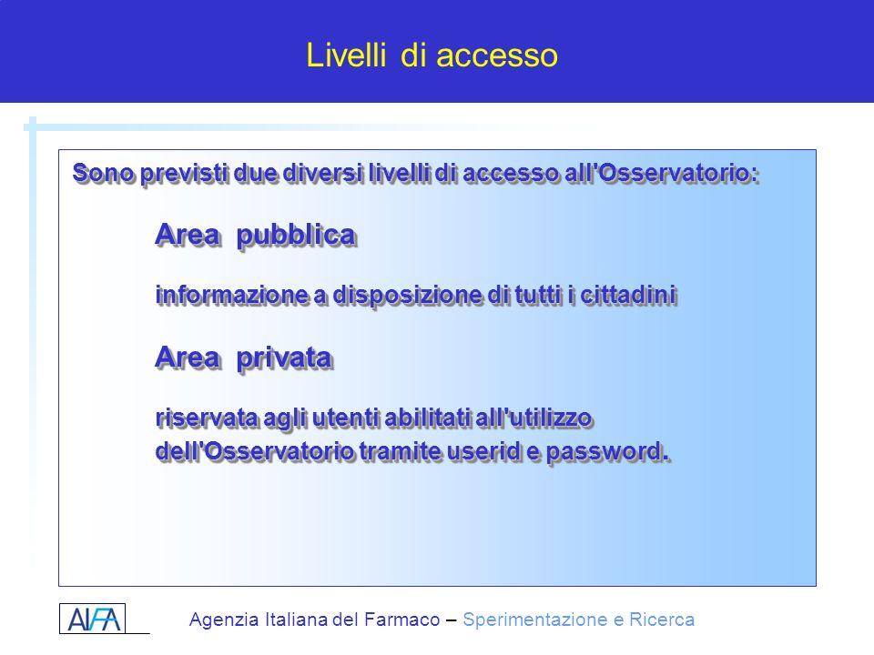 Agenzia Italiana del Farmaco – Sperimentazione e Ricerca Sono previsti due diversi livelli di accesso all'Osservatorio: Area pubblica informazione a d