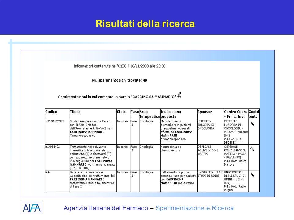 Agenzia Italiana del Farmaco – Sperimentazione e Ricerca Risultati della ricerca