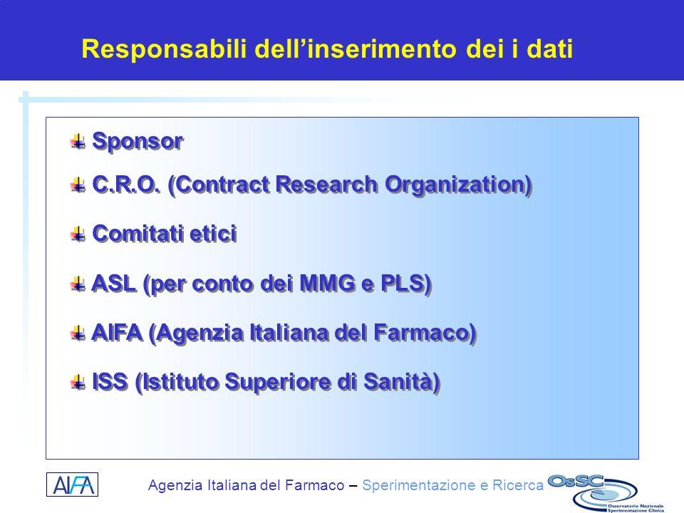 Agenzia Italiana del Farmaco – Sperimentazione e Ricerca Sponsor C.R.O. (Contract Research Organization) Comitati etici ASL (per conto dei MMG e PLS)