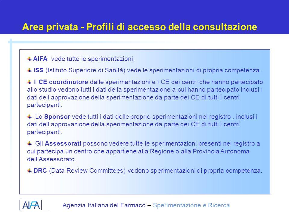 Agenzia Italiana del Farmaco – Sperimentazione e Ricerca Area privata - Profili di accesso della consultazione AIFA vede tutte le sperimentazioni. ISS