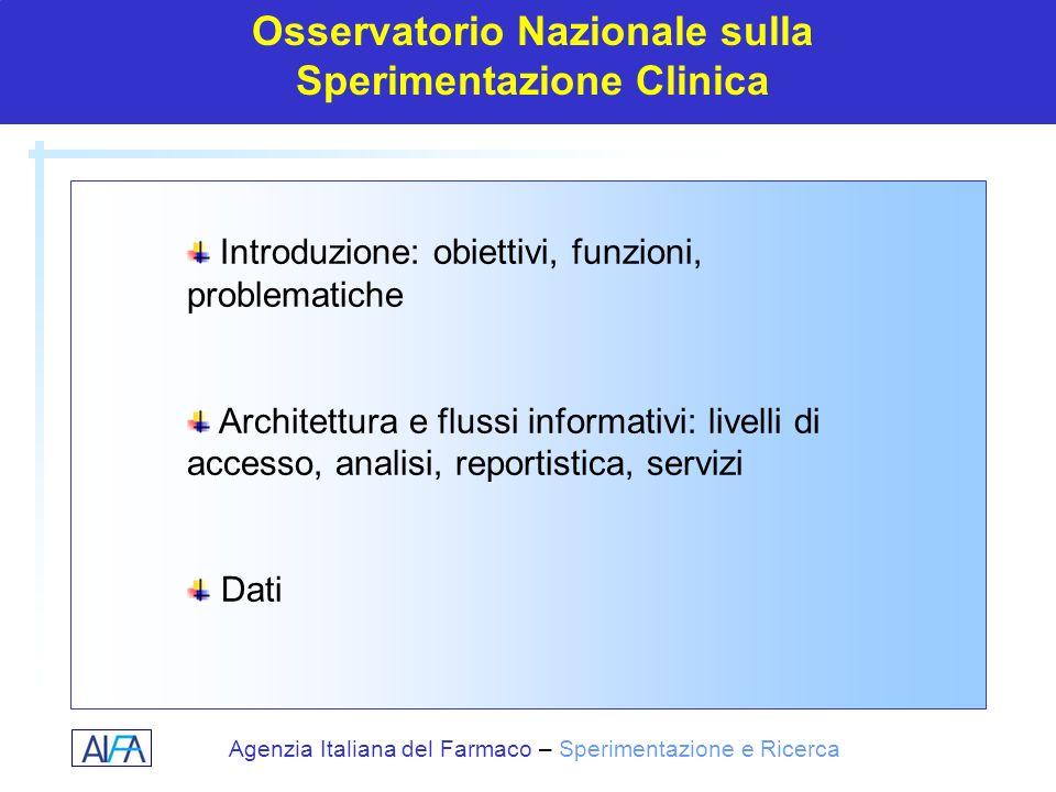 Agenzia Italiana del Farmaco – Sperimentazione e Ricerca Osservatorio Nazionale sulla Sperimentazione Clinica Introduzione: obiettivi, funzioni, probl