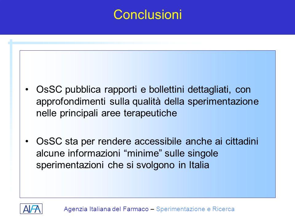 Agenzia Italiana del Farmaco – Sperimentazione e Ricerca Conclusioni OsSC pubblica rapporti e bollettini dettagliati, con approfondimenti sulla qualit