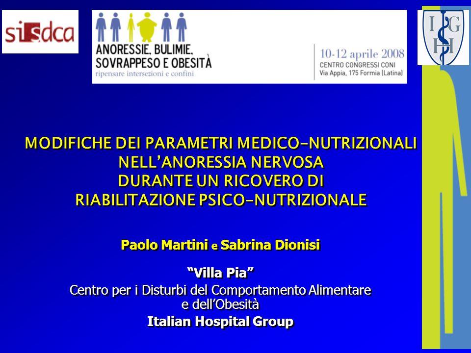 MODIFICHE DEI PARAMETRI MEDICO-NUTRIZIONALI NELLANORESSIA NERVOSA DURANTE UN RICOVERO DI RIABILITAZIONE PSICO-NUTRIZIONALE Paolo Martini e Sabrina Dio