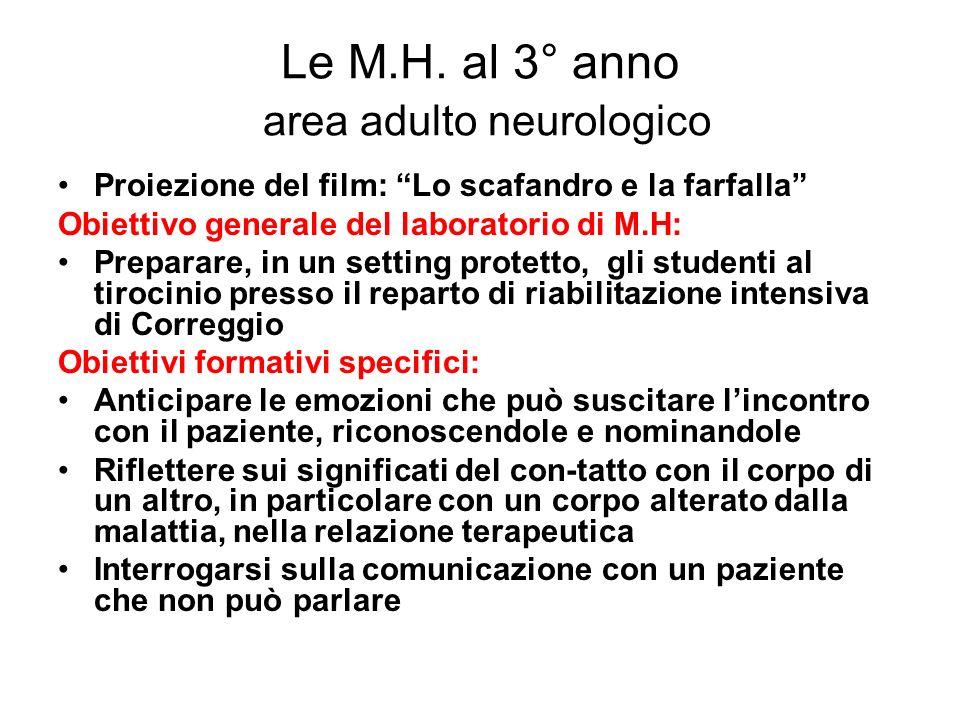 Le M.H. al 3° anno area adulto neurologico Proiezione del film: Lo scafandro e la farfalla Obiettivo generale del laboratorio di M.H: Preparare, in un