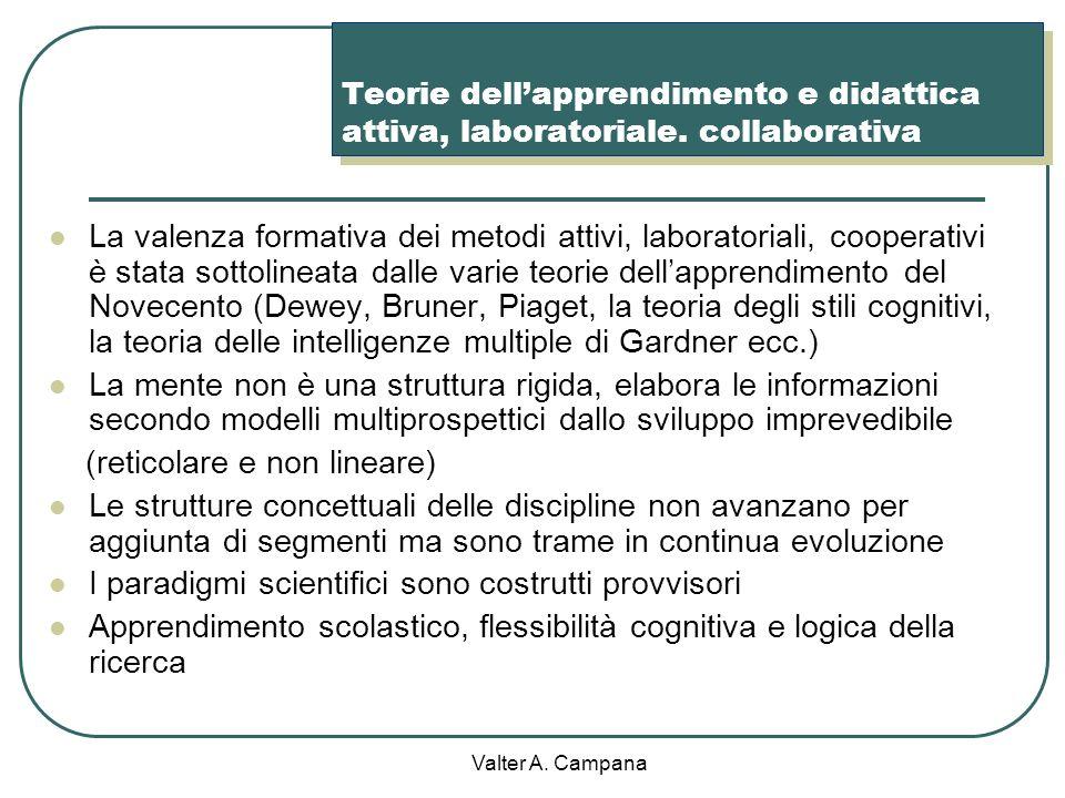 Valter A. Campana Padronanza dei principi teorici e dei modelli operativi di diversi approcci metodologici Didattica laboratoriale Didattica per probl