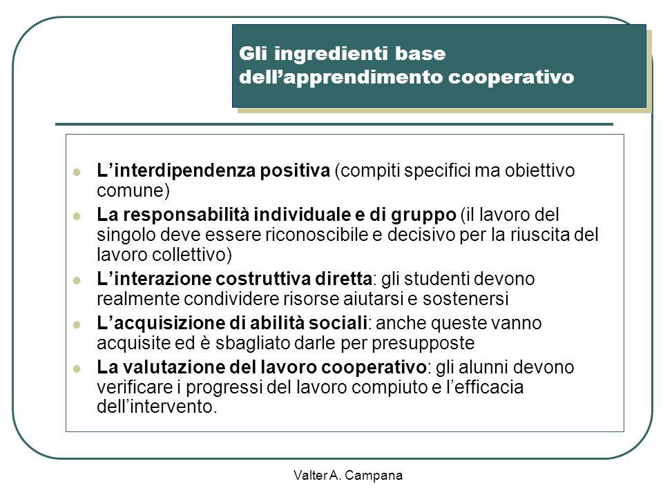Valter A. Campana Cooperative Learning Delle persone diventano un gruppo di apprendimento cooperativo quando: a) Condividono degli obiettivi b) Assumo