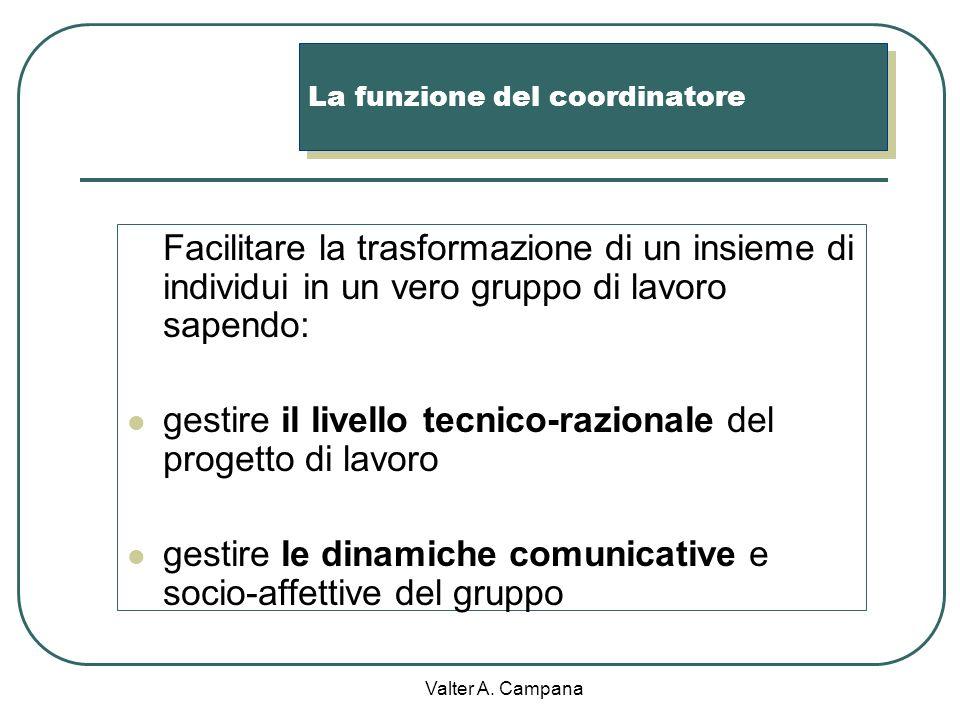 Valter A. Campana Gli ingredienti base dellapprendimento cooperativo Linterdipendenza positiva (compiti specifici ma obiettivo comune) La responsabili