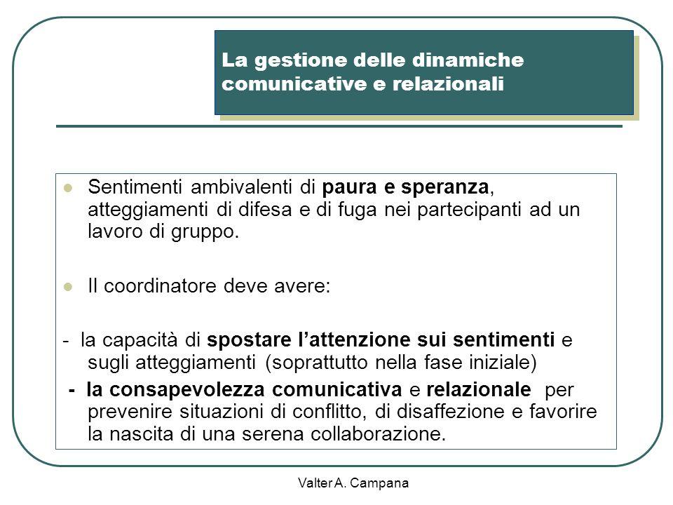 Valter A. Campana La gestione del livello tecnico-razionale Definizione del problema e negoziazione/condivisione degli obiettivi: chiarezza degli obie