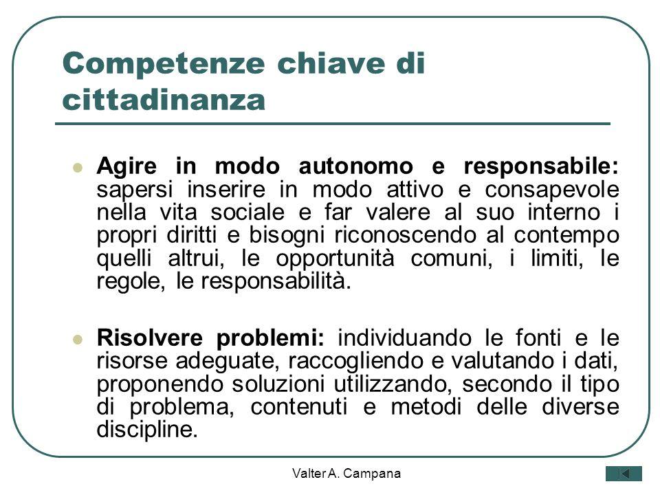 Valter A. Campana Competenze chiave di cittadinanza Comunicare: Comprendere messaggi di genere diverso (quotidiano, letterario, tecnico, scientifico,
