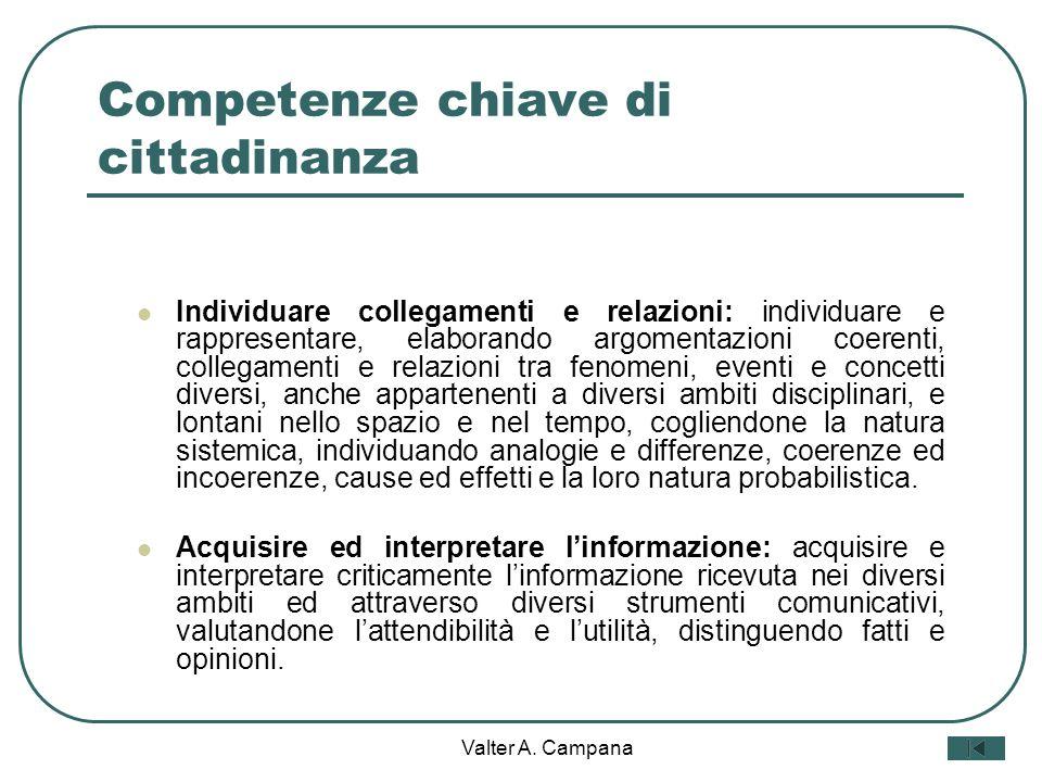 Valter A. Campana Competenze chiave di cittadinanza Agire in modo autonomo e responsabile: sapersi inserire in modo attivo e consapevole nella vita so