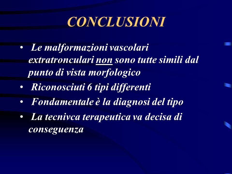 CONCLUSIONI Le malformazioni vascolari extratronculari non sono tutte simili dal punto di vista morfologico Riconosciuti 6 tipi differenti Fondamentale è la diagnosi del tipo La tecnivca terapeutica va decisa di conseguenza