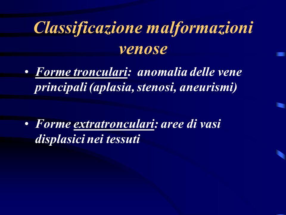 Classificazione malformazioni venose Forme tronculari: anomalia delle vene principali (aplasia, stenosi, aneurismi) Forme extratronculari: aree di vasi displasici nei tessuti
