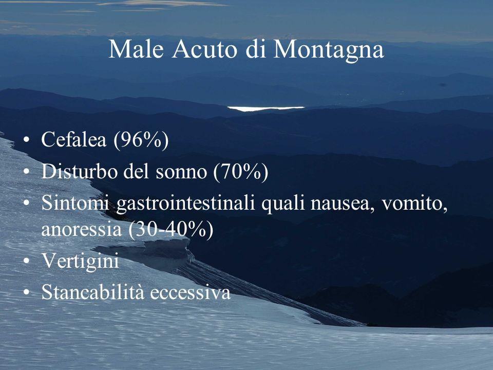 Male Acuto di Montagna Cefalea (96%) Disturbo del sonno (70%) Sintomi gastrointestinali quali nausea, vomito, anoressia (30-40%) Vertigini Stancabilità eccessiva