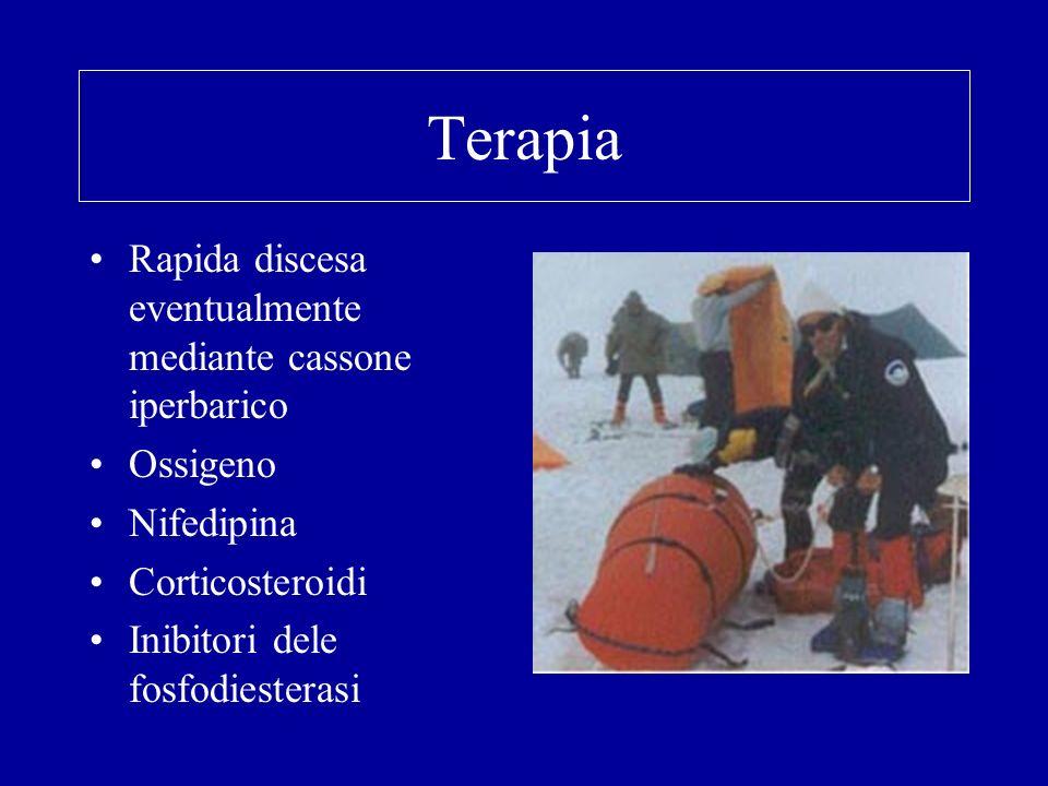 Terapia Rapida discesa eventualmente mediante cassone iperbarico Ossigeno Nifedipina Corticosteroidi Inibitori dele fosfodiesterasi