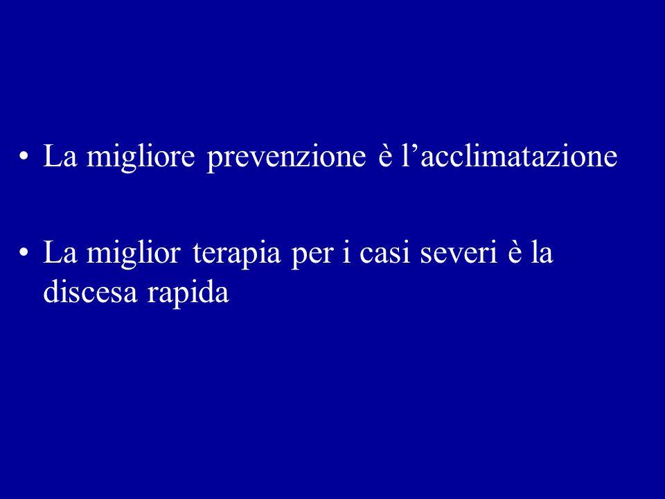 La migliore prevenzione è lacclimatazione La miglior terapia per i casi severi è la discesa rapida