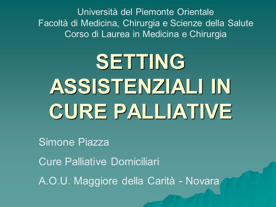SETTING ASSISTENZIALI IN CURE PALLIATIVE Simone Piazza Cure Palliative Domiciliari A.O.U. Maggiore della Carità - Novara Università del Piemonte Orien