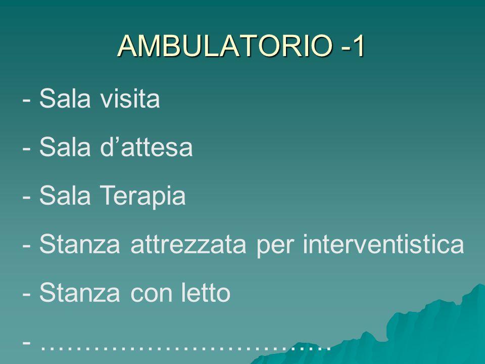 AMBULATORIO -1 - Sala visita - Sala dattesa - Sala Terapia - Stanza attrezzata per interventistica - Stanza con letto - ……………………………