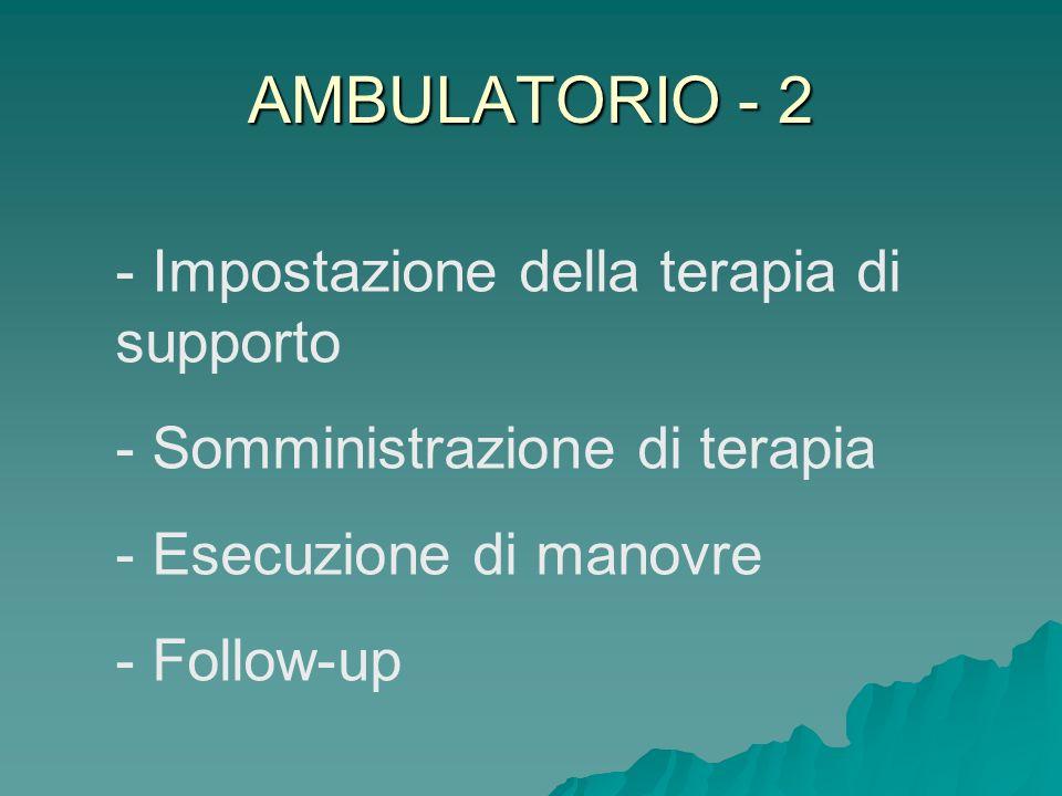 AMBULATORIO - 2 - Impostazione della terapia di supporto - Somministrazione di terapia - Esecuzione di manovre - Follow-up