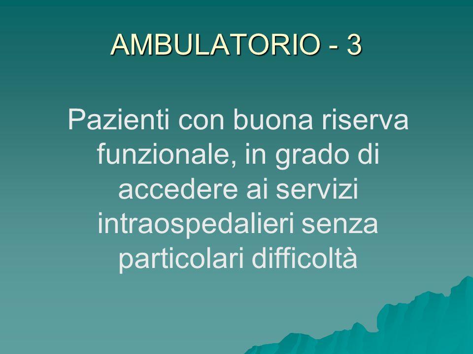 AMBULATORIO - 3 Pazienti con buona riserva funzionale, in grado di accedere ai servizi intraospedalieri senza particolari difficoltà
