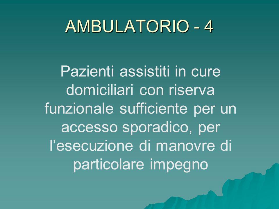 AMBULATORIO - 4 Pazienti assistiti in cure domiciliari con riserva funzionale sufficiente per un accesso sporadico, per lesecuzione di manovre di part