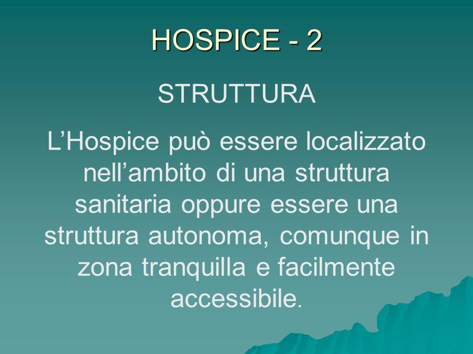 HOSPICE - 2 STRUTTURA LHospice può essere localizzato nellambito di una struttura sanitaria oppure essere una struttura autonoma, comunque in zona tra